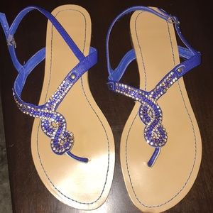 BAMBOO Royal Blue Sandals with Bling